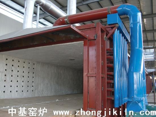 朝阳金麟铁粉厂187米宽断面金属框架全纤维棉体海绵铁隧道窑图片三