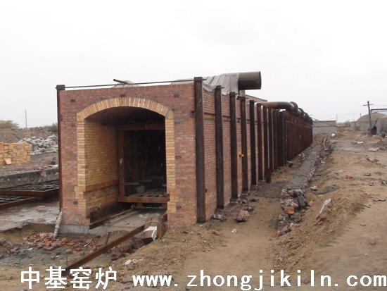 宁夏银川钛铁粉隧道窑施工中全景