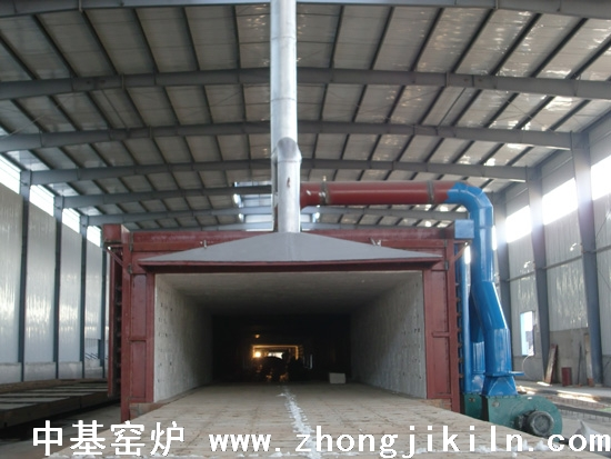 朝阳金麟铁粉厂187米宽断面金属框架全纤维棉体海绵铁隧道窑图片二